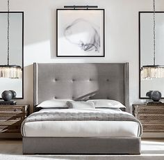 Tompkins Shelter Box-Tufted Fabric Bed With Nailheads - Tompkins Shelter Box-tufted Fabric Platform Bed With Nailheads - Modern Bedroom Design, Master Bedroom Design, Interior Modern, Contemporary Bedroom, Bedroom Designs, Master Suite, Modern Contemporary, Contemporary Kitchens, Modern Exterior