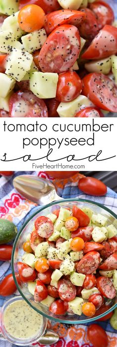 Tomato Cucumber Poppyseed Salad ~ juicy tomatoes and crisp cucumbers are tossed with a sweet and tangy dressing for a fresh and healthy summertime side dish recipe! | FiveHeartHome.com