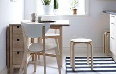 ikea ahşap masa sandalye ve tabure modeli Mutfak Dekorasyonu