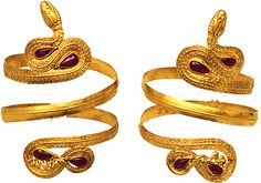 Golden bracelet, in a form of a snake. Decorated with inlayed sardian stones. Probably from Thessaly. Ca. 200 B.C.