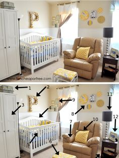 The Fun Cheap or Free Queen: Yellow & Gray Nursery Reveall! Will all the DIY tutorials included