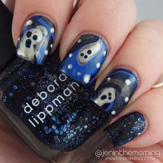 Spooky water marble ghost manicure  #nail #nails #manicure #mani #halloween #watermarble