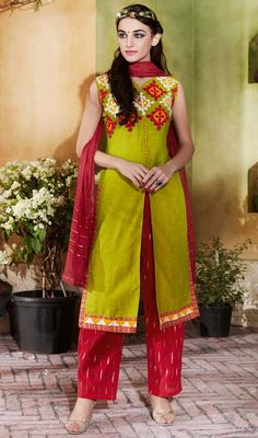 Green Color Cotton and Jacquard Embroidered Palazzo Suit
