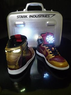 Iron Man Light Up Shoes . These custom Nike Iron Man light-up shoes were specially made for Tony Stark. These trademark red and gold . Tony Stark, Marvel Shoes, Marvel Clothes, Iron Man, Custom Sneakers, Custom Shoes, Marvel Gifts, Light Up Shoes, Nike Air Shoes