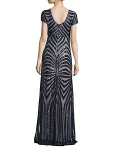 TCHKY Donna Morgan Isabelle Cap-Sleeve Geometric Sequined Gown