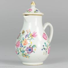 Lovely Chinese porcelain 18th lidded jar in Famille Rose style. Interesting small size.   http://shangrila-antique.com/product/18c-chinese-porcelain-famille-rose-lidded-jug-small/