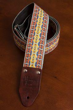 Henry Heller Guitar Strap Vintage Style Orange Yellow Pattern Handmade