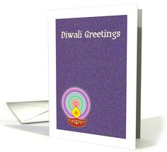 Diwali Greetings - Diwali lamp on purple background