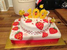 Summer strawberry birthday cake