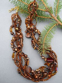 Woodsy necklace Multi strand necklace Evening by EvenTheStones, $60.00