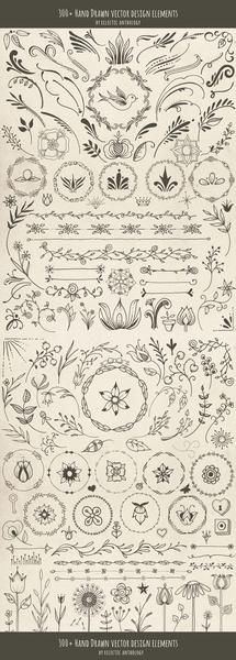 "Over 300 ""Woodland Whimsy"" Hand Drawn Vector Design Elements! Flourishes, curls, corners, borders, wreaths, leaves, flowers, mushrooms, birds, bugs, hearts, sta"