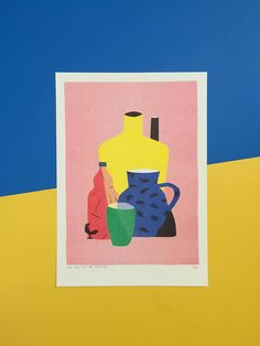 Risograph print of a still life on red including a small rooster