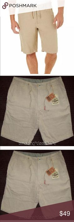 """🌴Men's Khaki Linen Shorts size L (36) Men's Cabana 100% linen shorts. The brand is Margaritaville and they are new with tags. Size Large. The waist measures 36 inches but can accommodate a waist measurement of 35-37 inches. The inseam and rise both measure 11 inches. Button & zip fly closure with belt loops and a drawstring waist. The color is """"Cool Sand"""" which is a light khaki color. Front pockets. Two back pockets that button close. Machine washable & tumble dry on low setting…"""