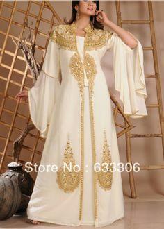 Elegant 2014 New Arrival Chiffon White Scoop Beading Full Sleeve Floor Length Abaya Kaftan Muslim Evening dress US $226.00