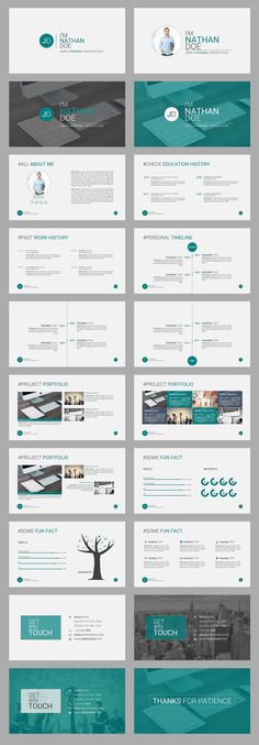"""JD Personal (CV Resume) Powerpoint Presentation Template"" is a Simple but Amazing Personal Portfolio PowerPoint presentation Template for any corporate or business person. Its a great way to brand yourself in front of the client or any other busi… Ppt Design, Powerpoint Design Templates, Design Brochure, Slide Design, Booklet Design, Design Layouts, Design Posters, Keynote Design, Professional Powerpoint Templates"