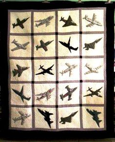 A more modern airplane quilt design