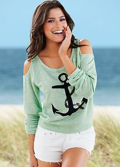 Green (GR) Anchor Sweatshirt $22  So much more than a sparkling and cozy sweatshirt with cold shoulders