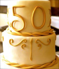 Elegant Gold 50th Anniversary Cake www.nBluf.com