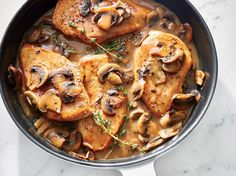 Quick Chicken Marsala | Marsala cooking wine is a worthy addition to your pantry; it's dry and sweet without being overpowering, and can cut through the richness of cream or stock. The alcohol will cook off as the sauce simmers. Adding butter at the end, a classic technique, gives the sauce its body and gloss. Serve this skillet main over polenta, mashed potatoes, or hot cooked brown rice. If you have leftover thyme, try steeping in chicken stock before making a risotto, tossing with roasted