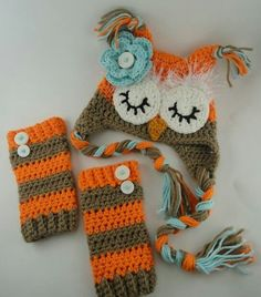 Crochet owl hat with matching leg warmers