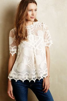 Anthropologie pina top pineapple lace!!
