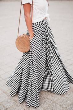 56e332f4af24 gingham maxi skirt x cotton tee x wicker circle back- Tap the link now to  see our super collection of accessories made just for you!
