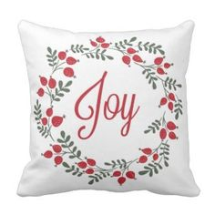 Joy Floral Red Green Christmas Wreath Throw Pillow 40% off with code LOVEZGIFTS50 #christmasthrowpillows #christmaspillows #christmasdecor #holidaythrowpillows #christmasholidaythrowpillows #christmas