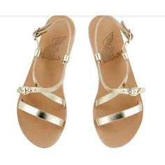 Ancient greek sandals platinum gold sofia leather sandals (10.835 RUB) ❤ liked on Polyvore featuring shoes, sandals, wing shoes, gold shoes, gold leather sandals, real leather shoes and gold leather shoes