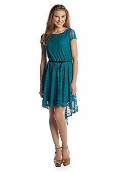 Red Camel® Belted Lace Dress