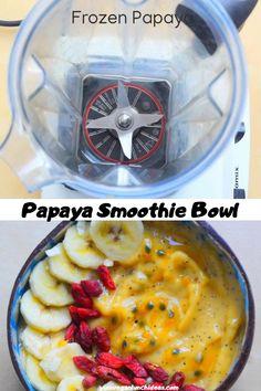 Passion Fruit Smoothie, Papaya Smoothie, Coconut Smoothie, Fruit Smoothie Recipes, Vegan Smoothies, Smoothie Bowl, Banana Coconut, Papaya Recipes Breakfast, Vegan Brunch Recipes