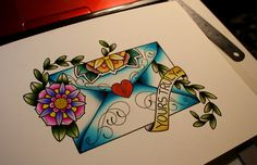 Cute tattoo idea. Loving the American tradition style