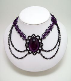 chainmaille necklace, choker. Gothic jewelry, goth, fae, costume, dark fairy tales.. $35.00, via Etsy.