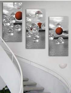 Bold and Classy this red wall art decor set elevates drab wall spaces. Great for above stairs as shown above. Also great when used separably as interior decorative accents. Silver Wall Decor, Red Wall Decor, Copper Wall Art, Red Wall Art, Abstract Canvas Wall Art, Silver Walls, Panel Wall Art, Modern Wall Decor, Wall Art Sets