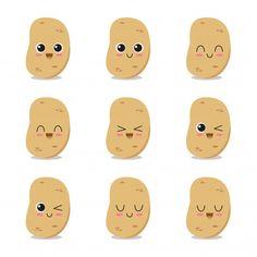 Cute, Funny And Happy Potato Set Character - Chisp Cartoon -