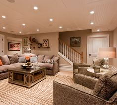 Basement ideas... I like the breadboard paneled ceiling... Classier than plain drywall for sure