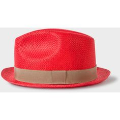 Paul Smith Men's Red Woven Trilby Hat ($92) ❤ liked on Polyvore featuring men's fashion, men's accessories, men's hats, mens headband, mens trilby, mens hats and mens red hats