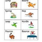 Worksheets Synonym Of Jump 1000 images about synonyms on pinterest shades power point of meaning verb cards jump cut out and laminate these 16 different cards