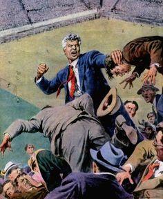 Molino, Walter (b,1915)- Soccer Fight- 'Domenica del Corriere'- July, 1951