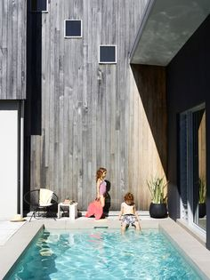 Love the different colour wood and of course the pool!