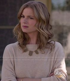 Emily's beige sweater and brown necklace on Revenge.  Outfit Details: http://wornontv.net/47375/ #Revenge