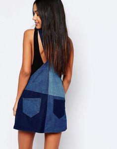 Image 2 of Boohoo Patchwork Denim Pinafore Dress