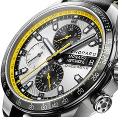 """Chopard Grand Prix de Monaco Historique Chrono Watch In Yellow and Black For 2014 - For 2014, Chopard will release a completely updated Grand Prix de Monaco Historique watch collection in honor of their ongoing support of the famous racing series. The first model to be introduced is a beautiful """"bumble bee"""" black and yellow Monaco Historique collection chronograph as part of their greater Classic Racing collection that debuts the new yellow theme of the product family..."""