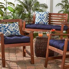 Outdoor Bench Cushion - Sapphire (Blue) Stripe - Greendale Home Fashions Patio Furniture Cushions, Outdoor Dining Chair Cushions, Bench Cushions, Patio Chairs, Dining Furniture, Outdoor Furniture Sets, Office Chairs, Adirondack Chairs, Garden Cushions