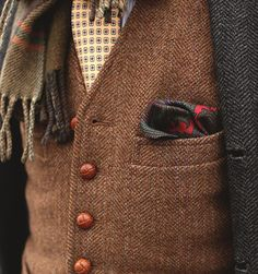Pocket square for the vest is always a good touch... Actually, when you wear tweed you can pretty much do whatever you want. http://www.annabelchaffer.com/categories/Gentlemen/