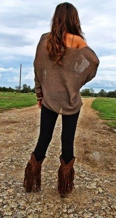 Oversized Off Shoulder Cardigan With Tights. fringe boots