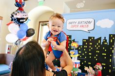kaleb's 1st birthday   superheroes themed birthday party