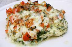 Pesto kylling, med gratinerte grønnsaker