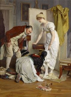 """""""The Shoe Sample"""" (Die Schuhprobe) → Franz Xaver Simm (Austrian pinned this but this is a much large image. Victorian Maid, Art Ancien, Classic Paintings, Period Costumes, Classical Art, Jane Austen, Historical Clothing, Art History, Illustration"""