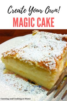 Magic Custard Cake - creates layers as it bakes! from Canning and Cooking at Home Cake Decorating Books, Cake Decorating Designs, Creative Cake Decorating, Creative Cakes, Decorating Ideas, Baking Recipes, Cake Recipes, Dessert Recipes, Sweet Recipes