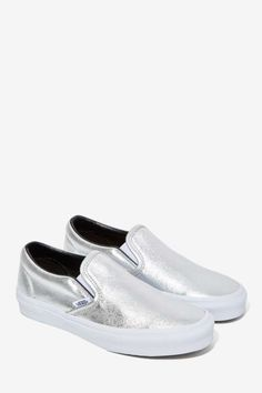 Vans Classic Slip-On Sneaker - Metallic Leather - Shoes | Flats | Vans